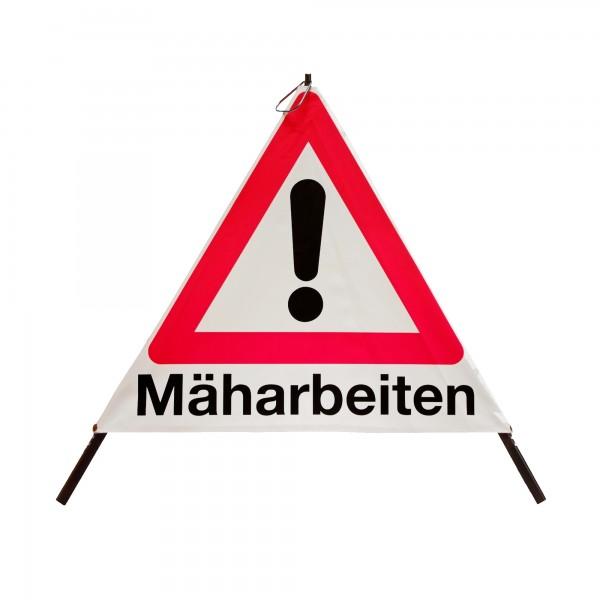 Faltsignal mit Warnsymbol VZ 101 - 70cm - Mäharbeiten - tagesleuchtend