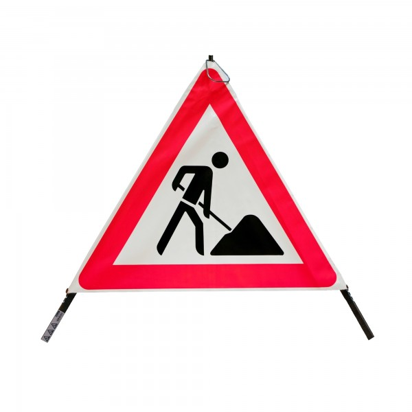 Faltsignal mit Warnsymbol VZ 123 - 70cm - Baustelle - tagesleuchtend