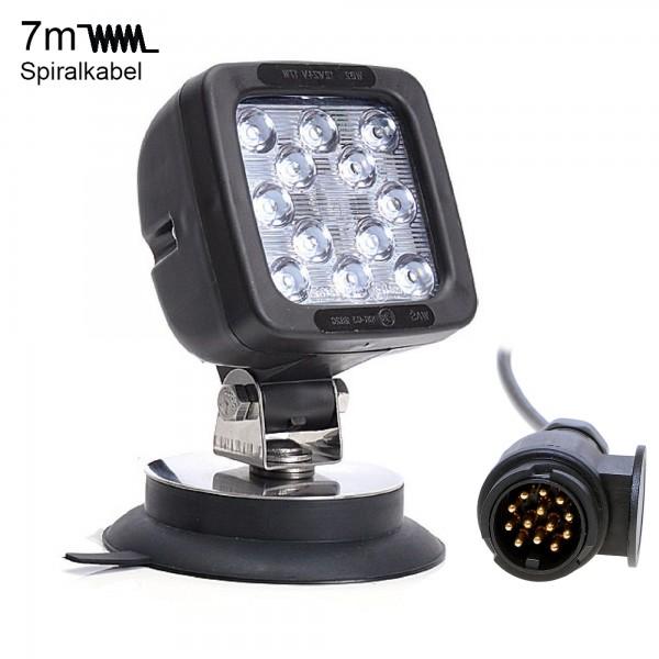 Zusatz LED Scheinwerfer 17W mit 13-Pol Anhängerstecker + Magnetfuß