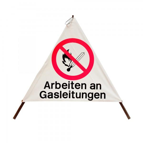 Faltsignal mit Warnsymbol - 70cm - Arbeiten an Gasleitung - tagesleuchtend